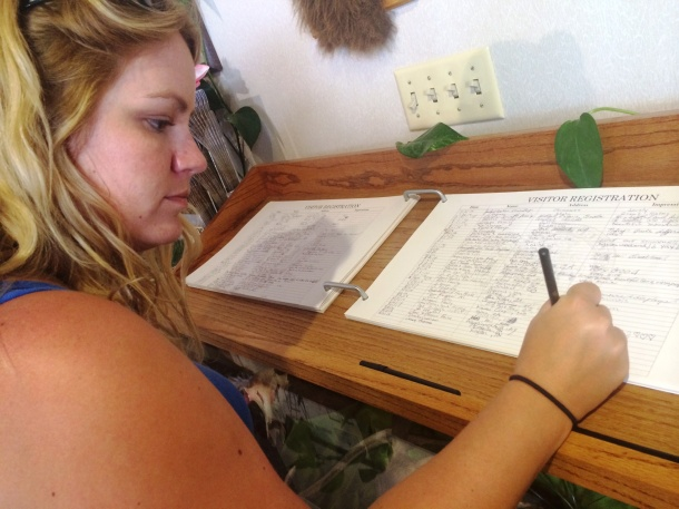 Signing Wyoming Guest Book