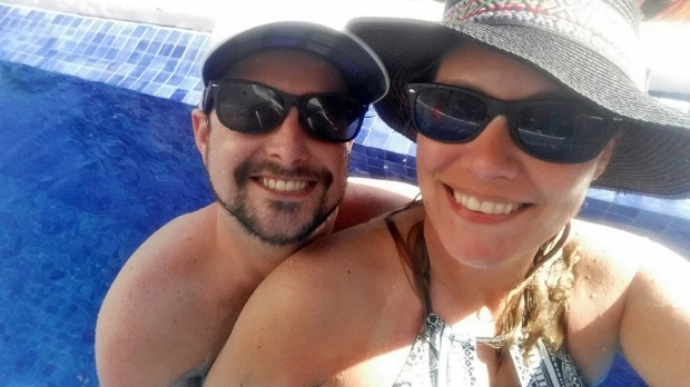 Hanging out in our Swimup at Hideaway at Royalton Riviera Cancun