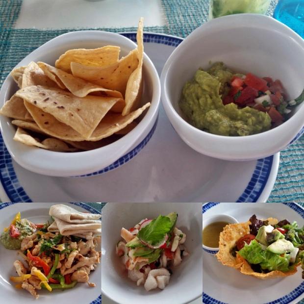 Guacamole, Chicken Quesadillas, Cerviche, and Puerto Morales Salad at Caribbean Grill (Lunch), Royalton Riviera Cancun