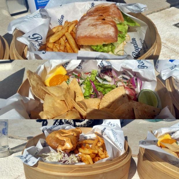 Top to Bottom: Fish Sandwich, Cerviche, Fish and Chips, Dorado (Lunch), Royalton Riviera Cancun