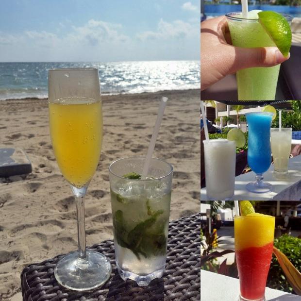 Mimosa, mojito, electric lemonade, margarita, blue margarita, and Mango Tango, Royalton Riviera Cancun