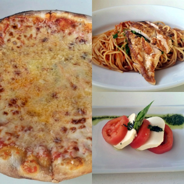 Four Cheese Pizza, Pomodoro Pasta with Chicken, and Caprese Salad at Grazie (Lunch), Royalton Riviera Cancun